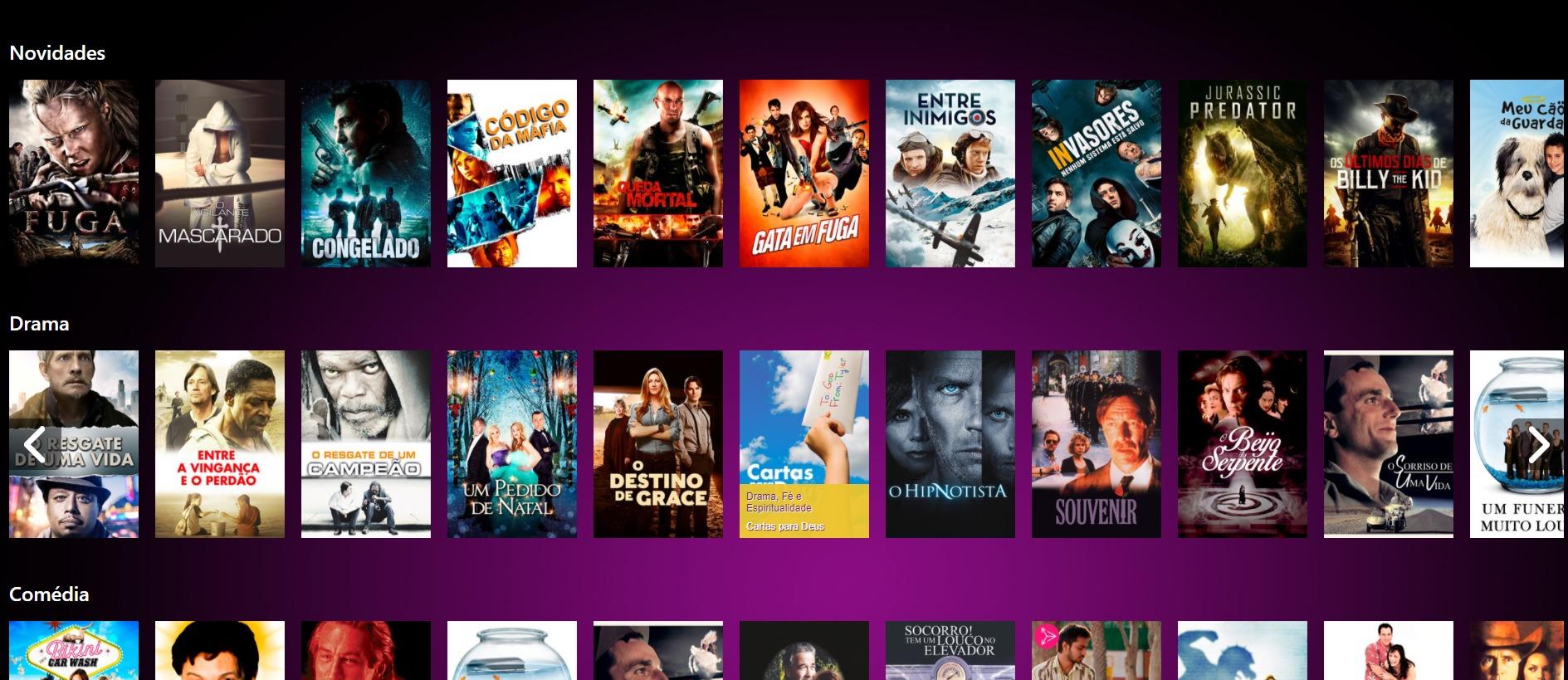 A brasileira NetMovies traz apenas conteúdos grátis (Imagem: reprodução / NetMovies)