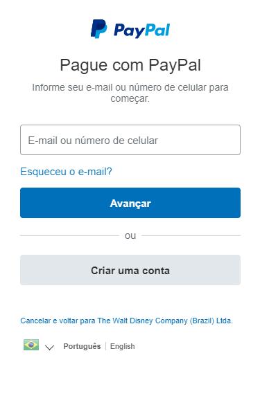 Pagando Disney+ com PayPal