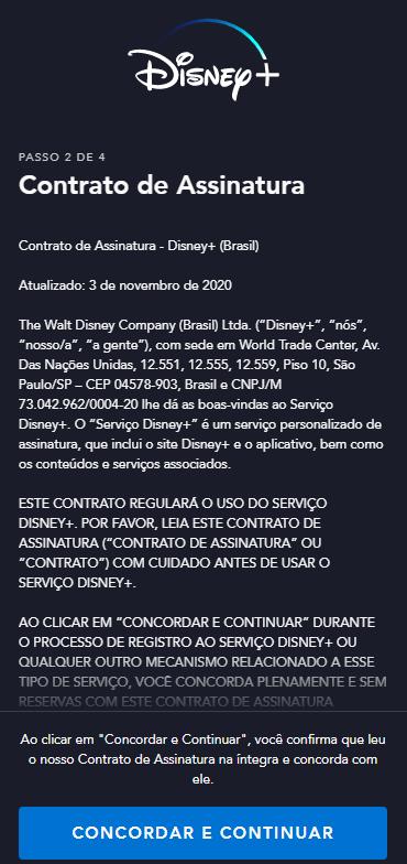 Contrato de assinatura do Disney+