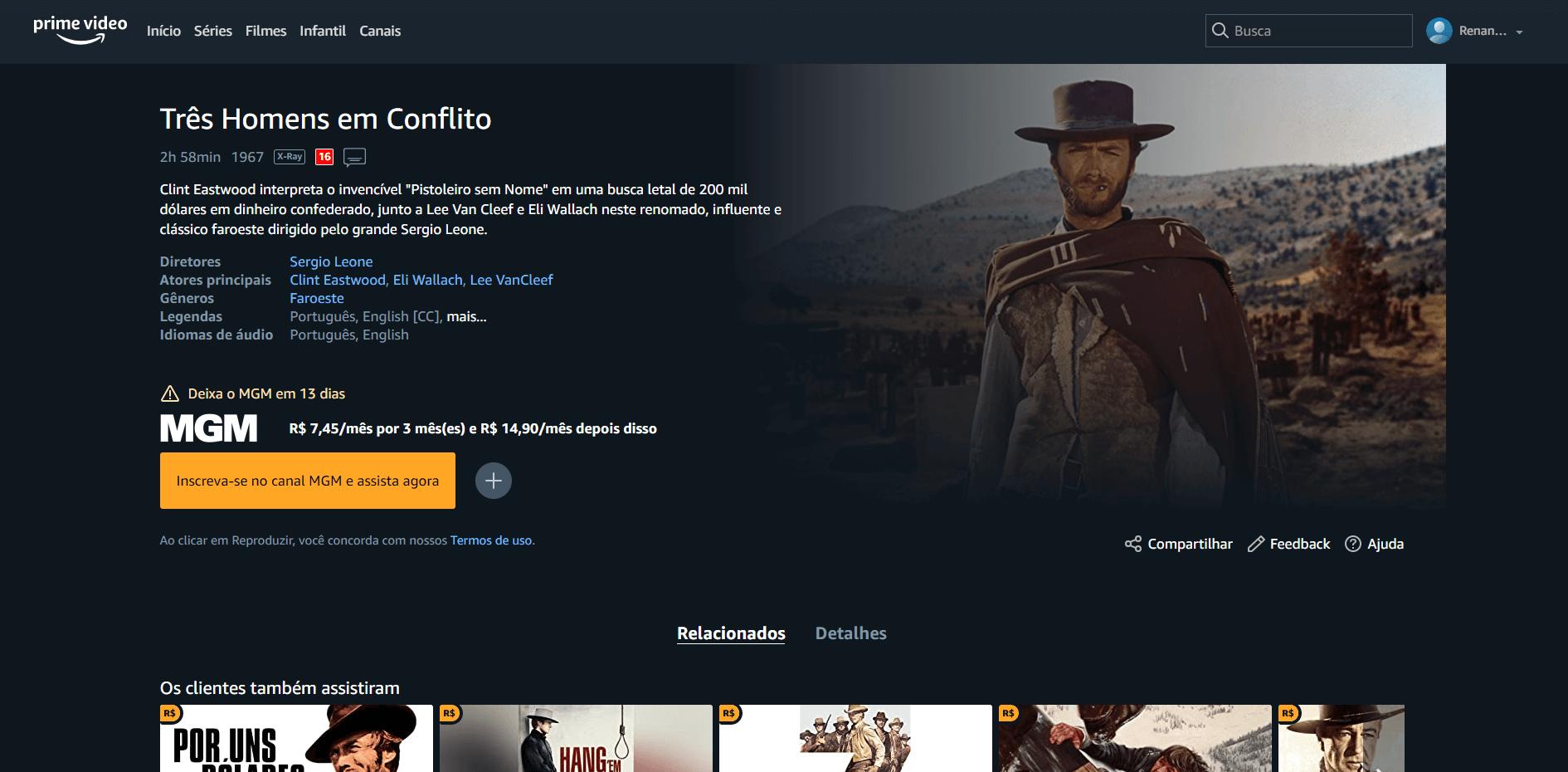 Todos os conteúdos do canal MGM do Prime Video estão com data para saírem do catálogo da plataforma (Imagem: reprodução / Amazon)