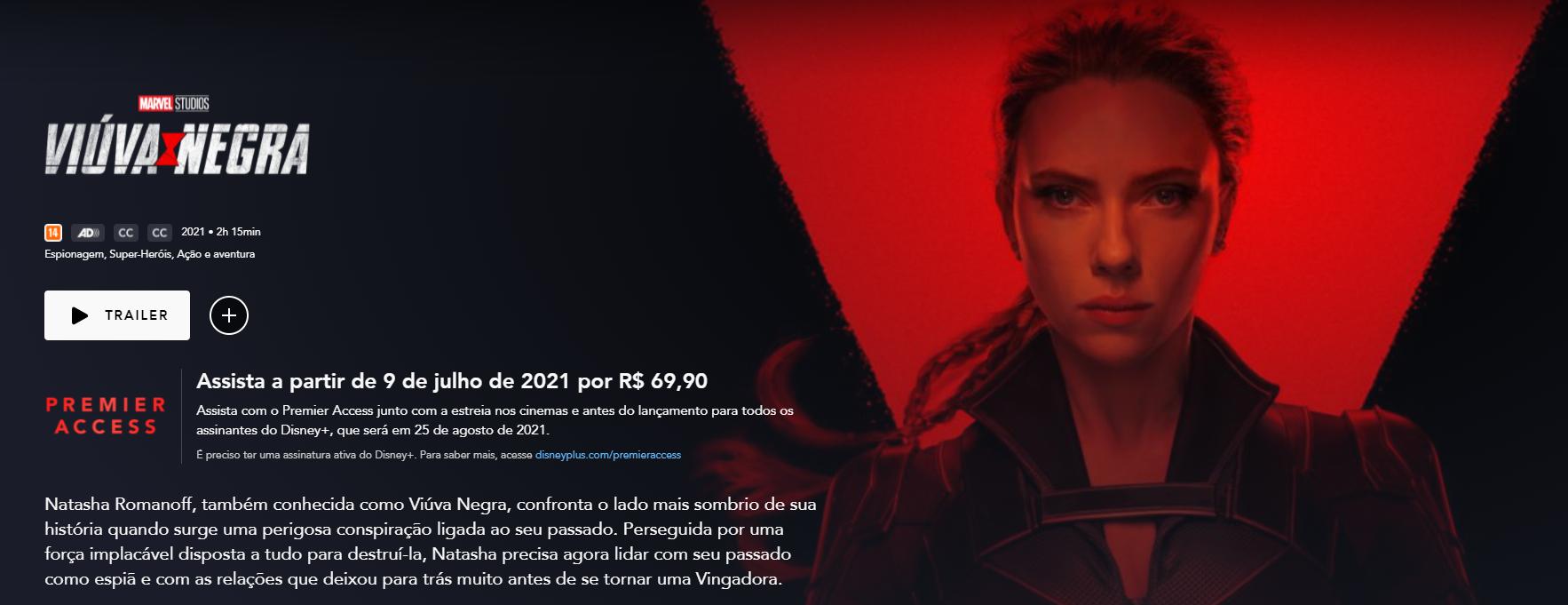 'Viúva Negra' custava R$ 69,90 no Premier Access (Crédito: reprodução / Disney+)