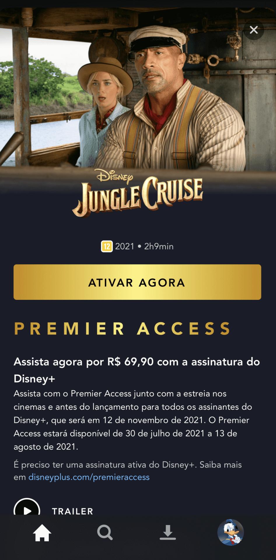 As datas de disponibilidade de Jungle Cruise no Disney+ (Crédito: reprodução / Disney)