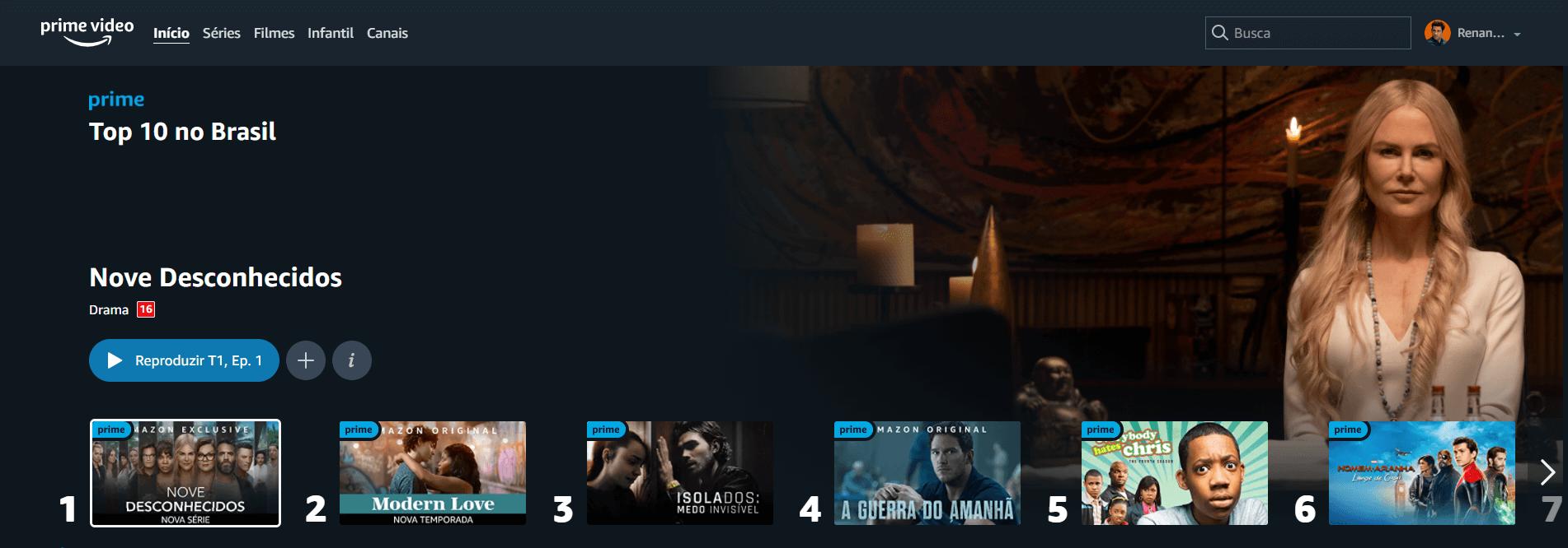 O ranking do Amazon Prime Video nesta segunda, 30 (Crédito: reprodução / Amazon)