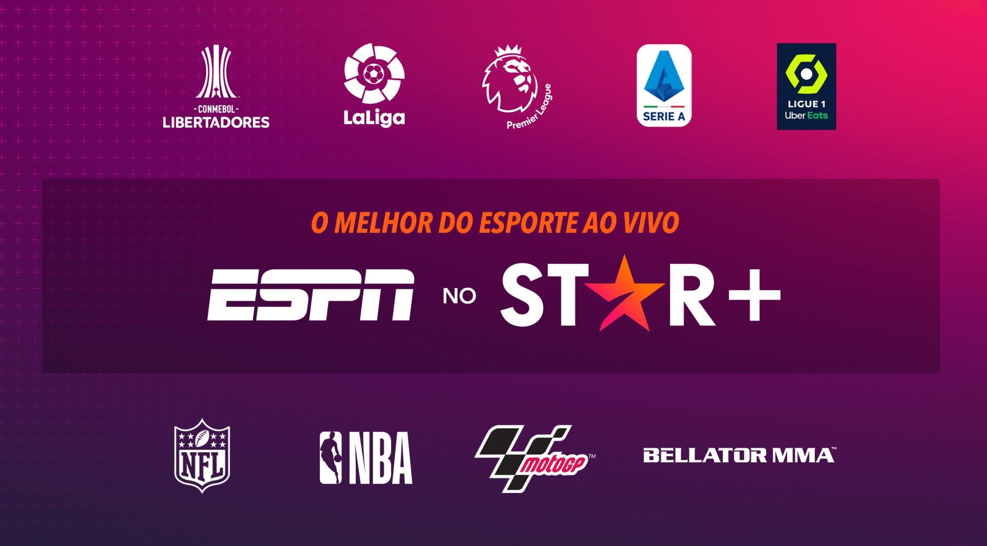 Algumas das categorias esportivas presentes no Star+ em imagem de divulgação (Crédito: divulgação / Disney)