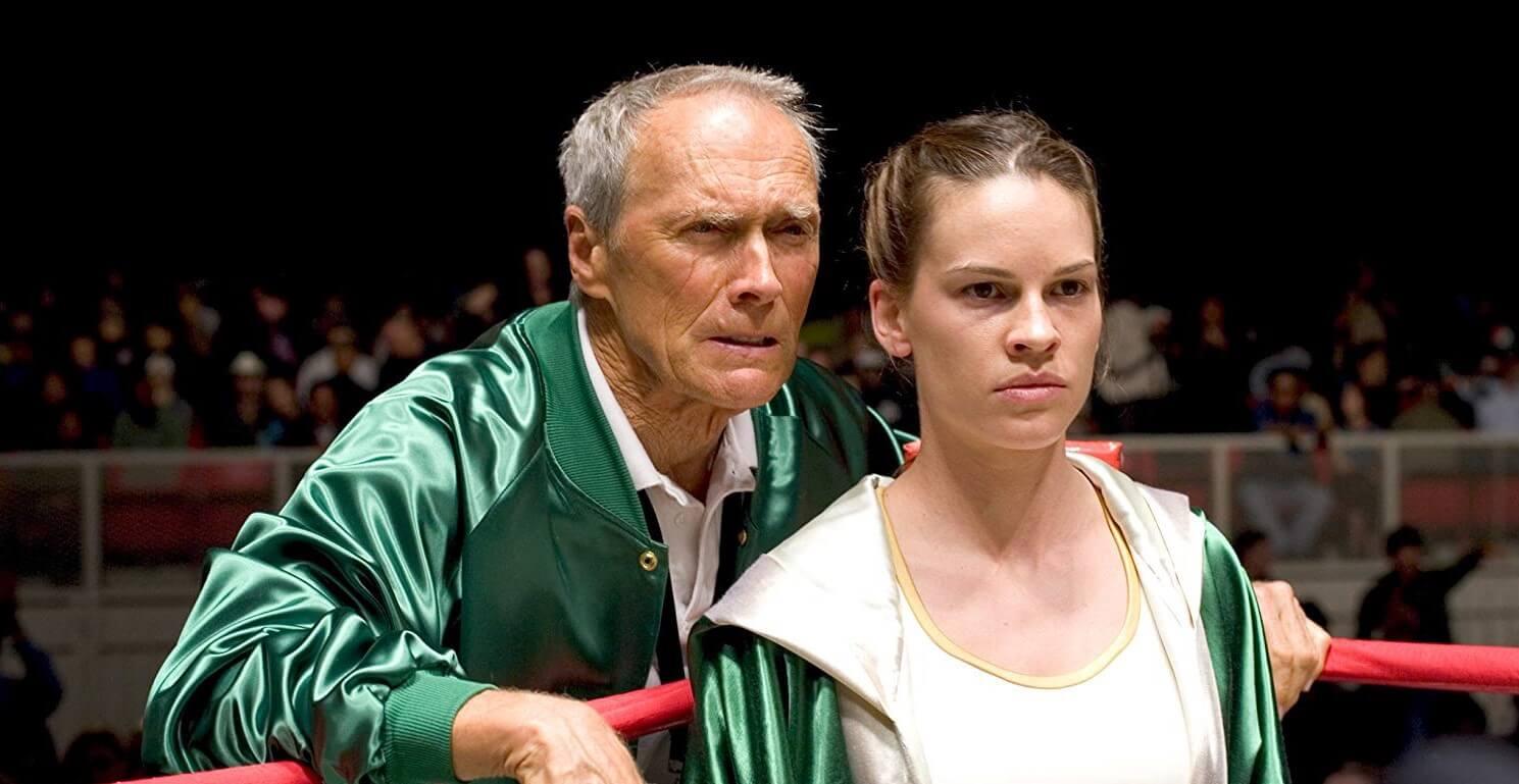 Clint Eastwood e Hilary Swank em 'Menina de Ouro', ambos ganharam Oscar pelo filme, ele como diretor e ela como atriz (Crédito: Divulgação/Europa Filmes)