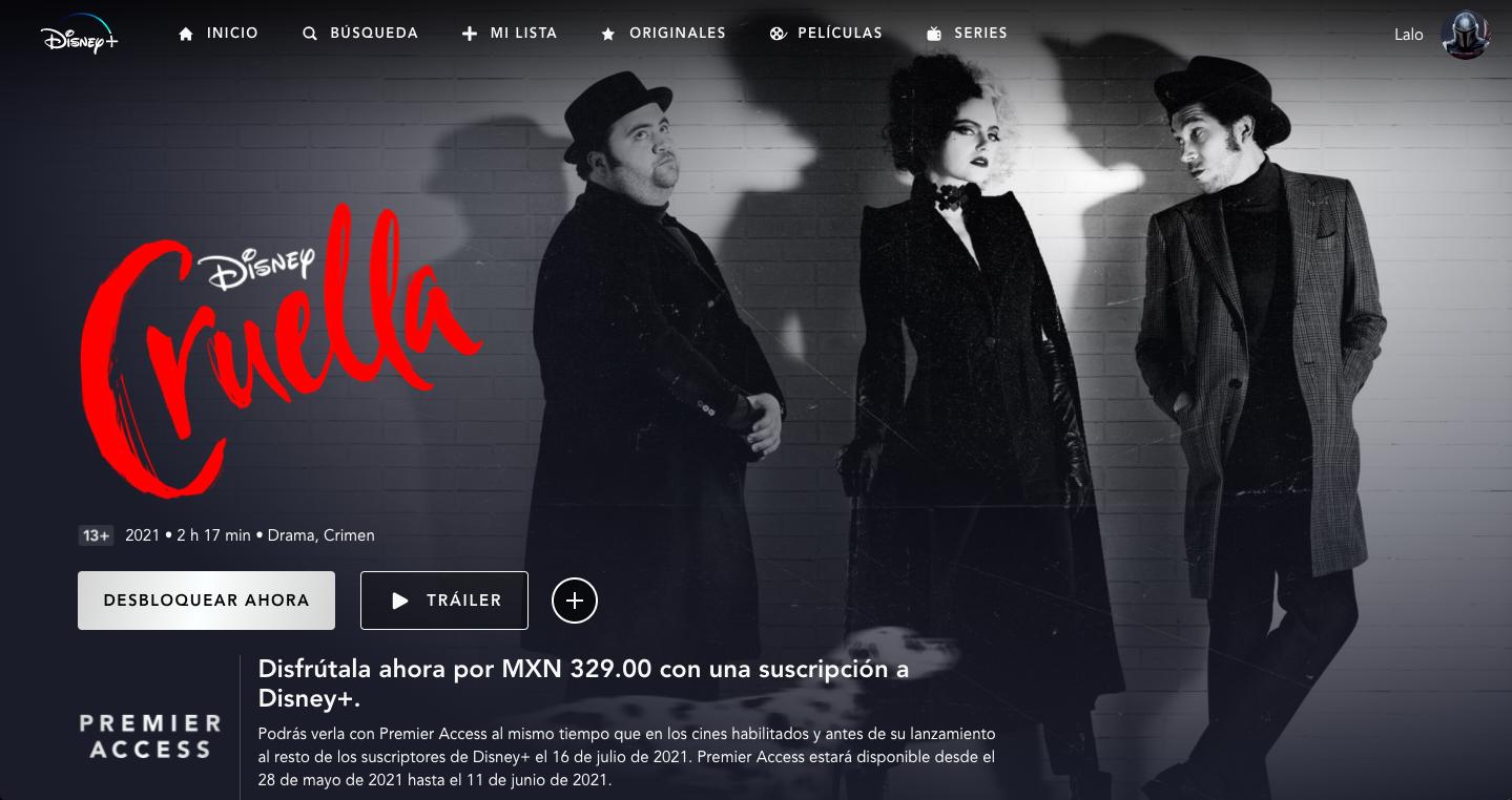 Cruella estará disponible sin costo adicional el 16 de julio.