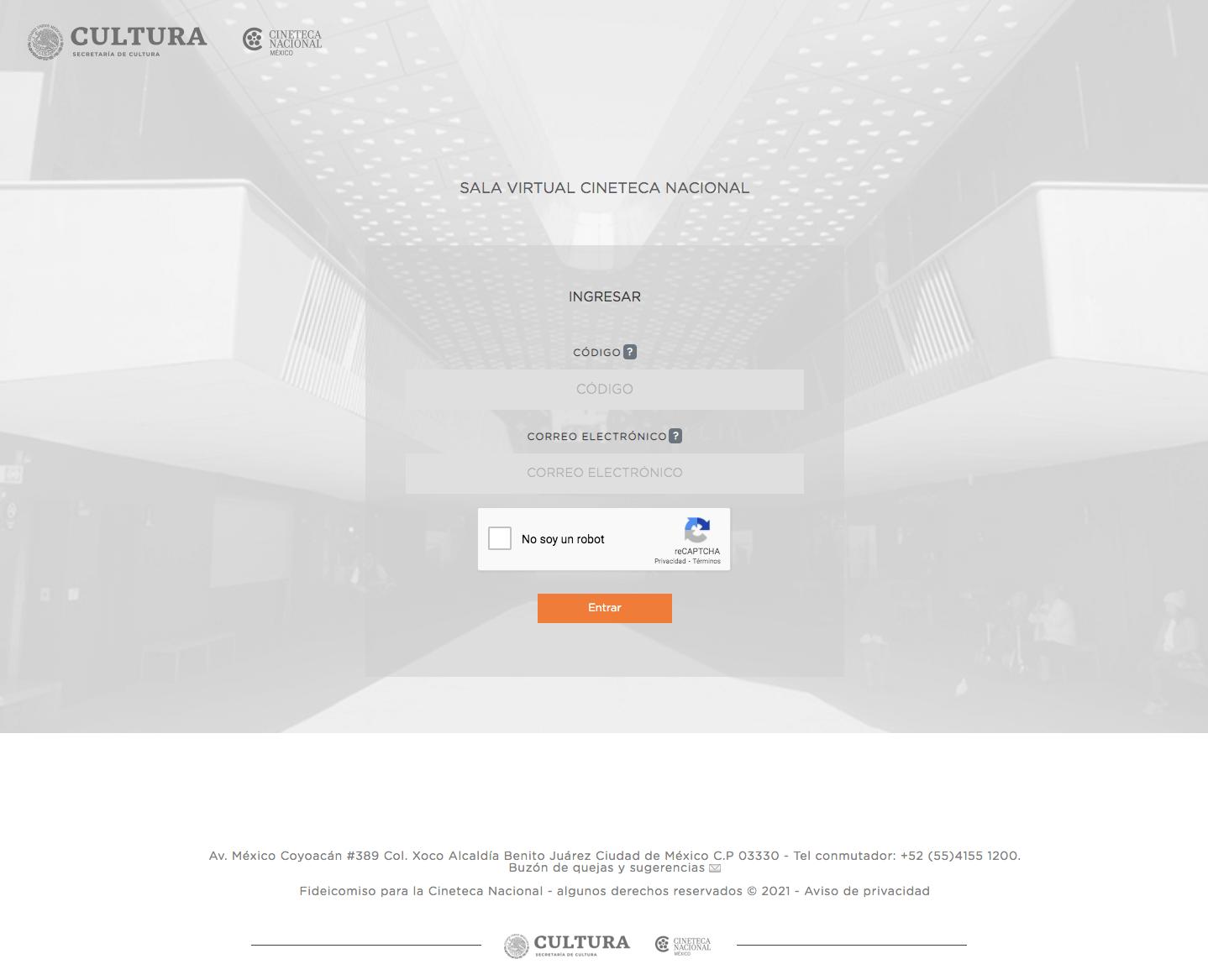 Acceso a la sala virtual de Cineteca Nacional